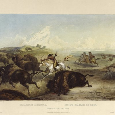 Bodmer drawing of 1800's Native American's hunting 0202_0111