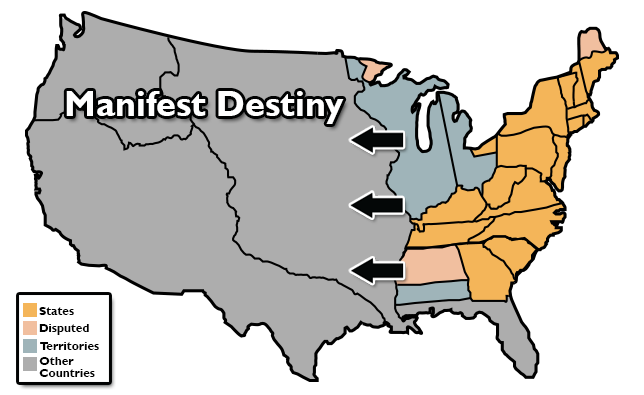 Map of US with Manifest Destiny
