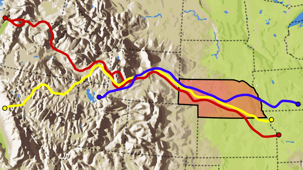 Map of the Oregon, California and Mormon Trails