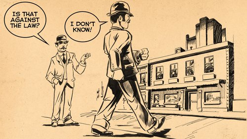Cartoon of a man in the 1800's breaking the law 0301_0102