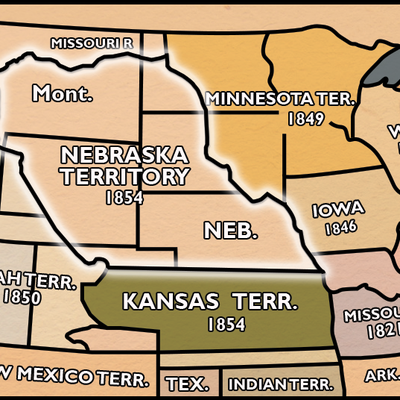 Map of Nebraska Territories in 1854 0302_0601