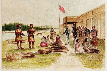 drawing of fur traders at trade center 0802_0402